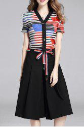 Stripes T-Shirt and Culotte Pants Twinset -