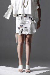 Butterfly Print Bowknot High-Low Skirt -