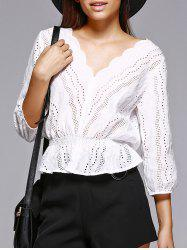 Trendy V Neck Hollow Out White Blouse -