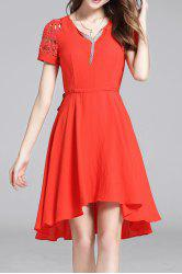 Hollow Out Solid Color Irregular Hem Dress -