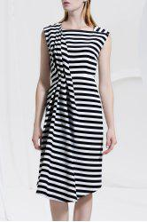 Asymmetric Striped Ruched Sleeveless Dress -