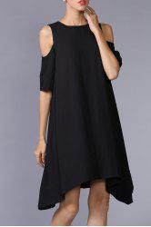 Cold Shoulder Asymmetric Hem Dress -