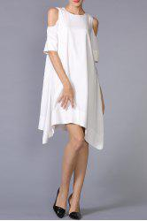 Cold Shoulder Asymmetric Hem Dress - WHITE