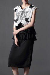 Black Ruffles Dress and Embroidery Patch Design Tank Top Suit -
