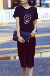 Rhinestone Skull Graphic Midi T-Shirt Dress