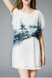 Ruched Mini Wash Painting Dress -