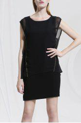 Solid Color Beaded Sleeveless Dress -