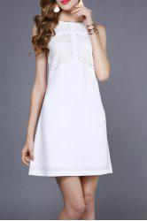 Lace Splicing Sleeveless Casual Wedding Dress -