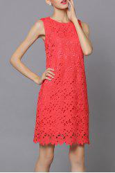 Lace Sleeveless Pure Color Dress -