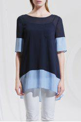 Asymmetric Color Block Blouse -