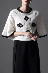 Letter Beading Patch Design Blouse -