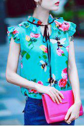 Ruffle Floral Print Silk Top - GREEN S