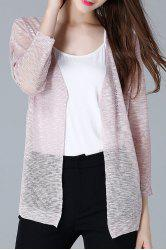Collarless Open Front Sheer Cardigan -
