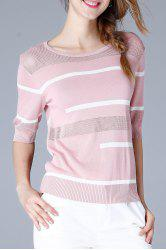 Ribbed Trim Knit Tee -