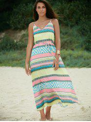 Open Back Print Slip Long Casual Beach Dress