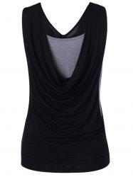Simple Fitted Pleated Cowls Openwork Tank Top For Women -
