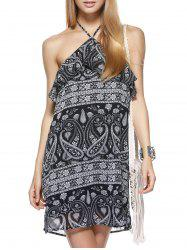 Boho Halter Neck Paisley Flounce Summer Dress