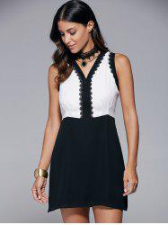 V Neck Sleeveless Lace Spliced Chiffon Dress
