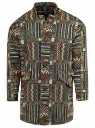 Ethnic Style Lapel Geometric Print Long Sleeve Coat For Men - COLORMIX