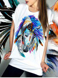 Casual Short Sleeve Round Neck Horse Pattern Women's T-Shirt -