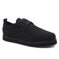 Preppy Engraving and Black Design Canvas Shoes For Men -