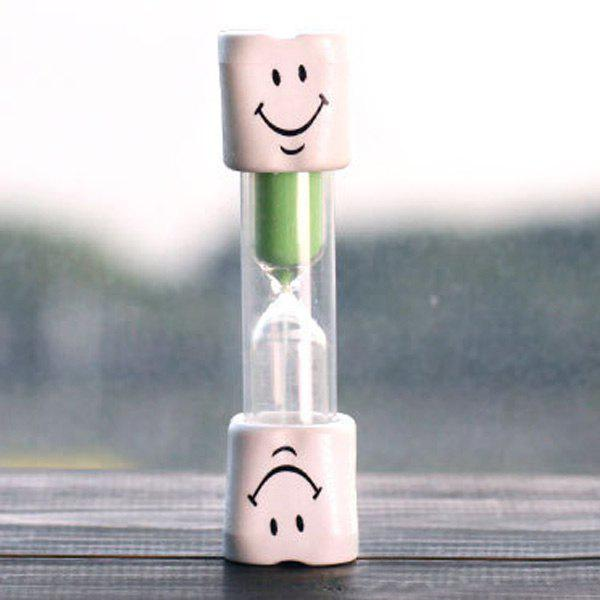 Creative Smiling Face 5 Minute Toothbrushing Timer Hourglass For KidsHOME<br><br>Color: GREEN; Clock Type: Desk &amp; Shelf Clocks; Time Display: Analog; Style: Modern/Contemporary; Theme: Others; Material: Acrylic,Glass,Plastic; Size(L*W*H)(CM): 9*2.3CM; Weight: 0.045kg; Package Contents: 1 x Hourgalss;