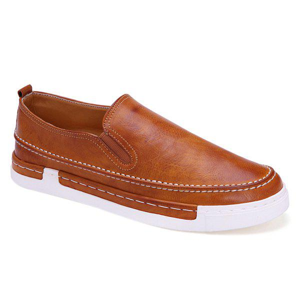 Cheap Concise Stitching and PU Leather Design Loafers For Men