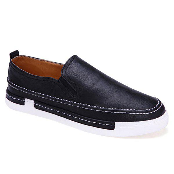 Discount Concise Stitching and PU Leather Design Loafers For Men
