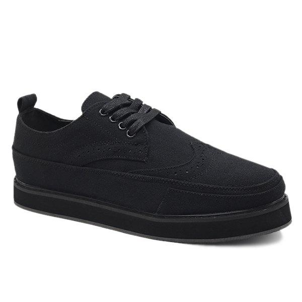 Shop Preppy Engraving and Black Design Canvas Shoes For Men