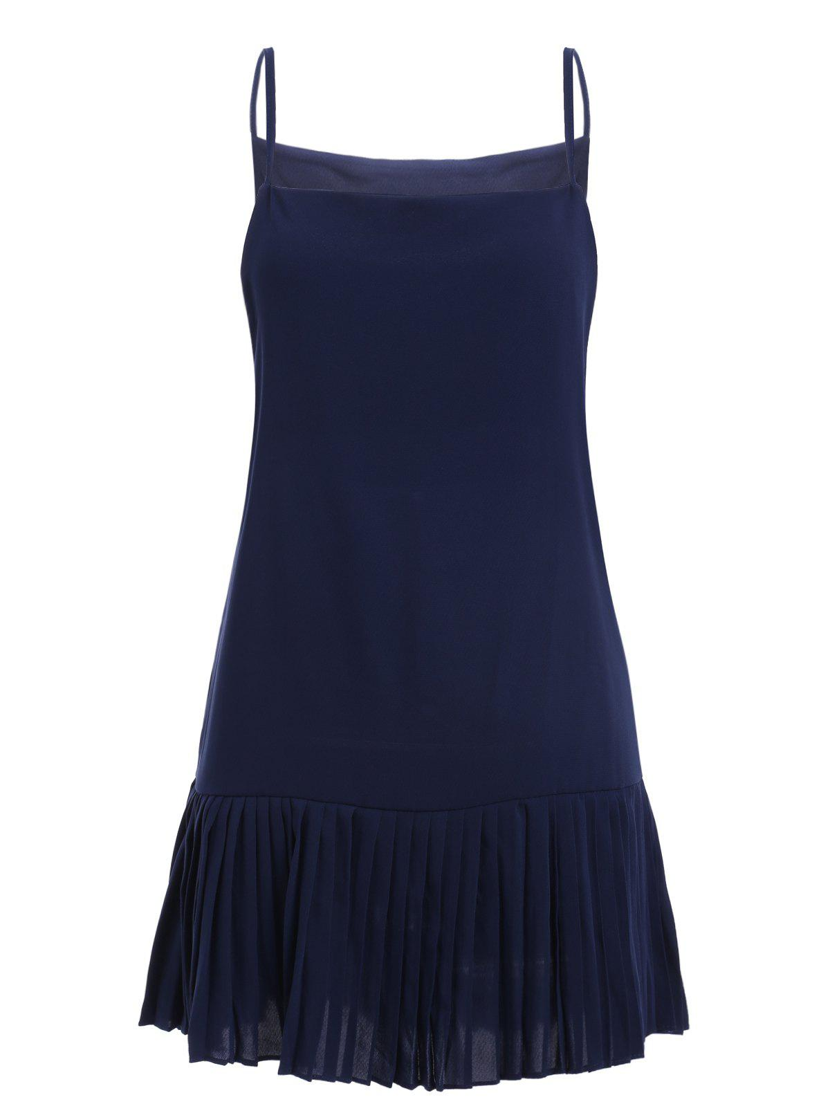 Simple Design Solid Color Spaghetti Strap Pleated Dress Women ONE SIZE(FIT SIZE XS TO M)