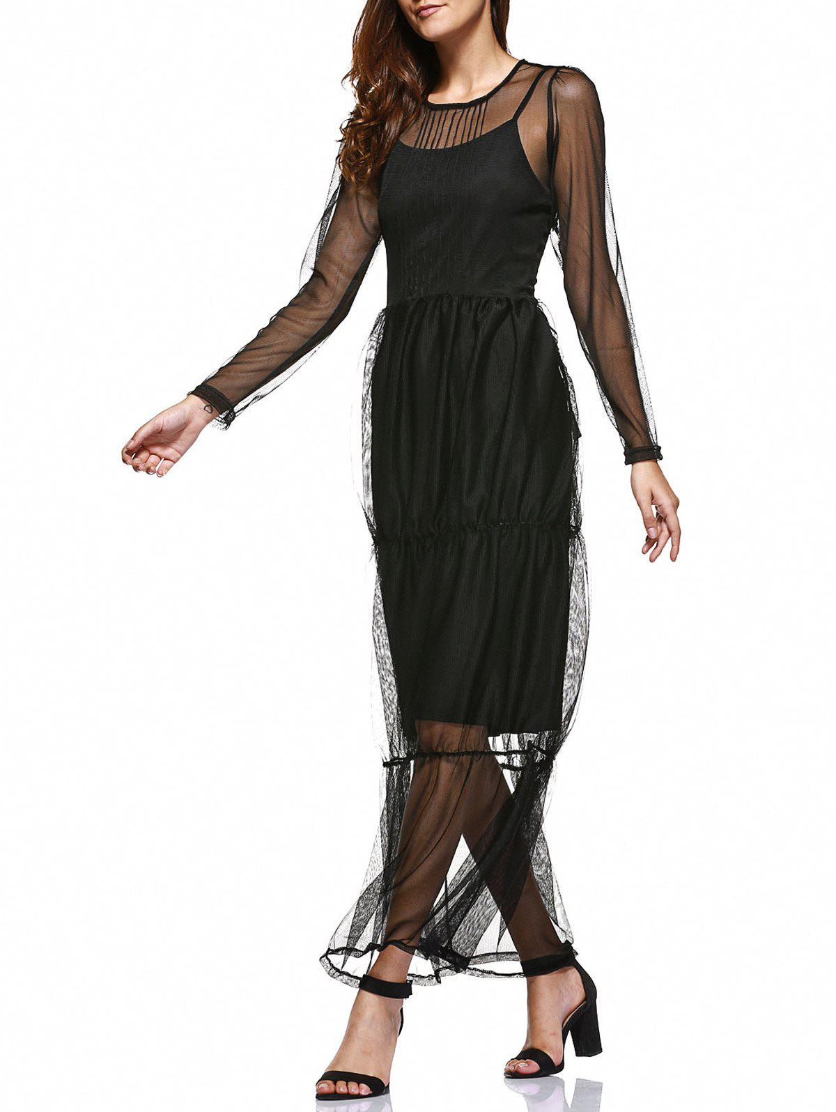 bb11763efbb 39% OFF  Simple Black Sundress And Mesh See-Through Layered Dress ...