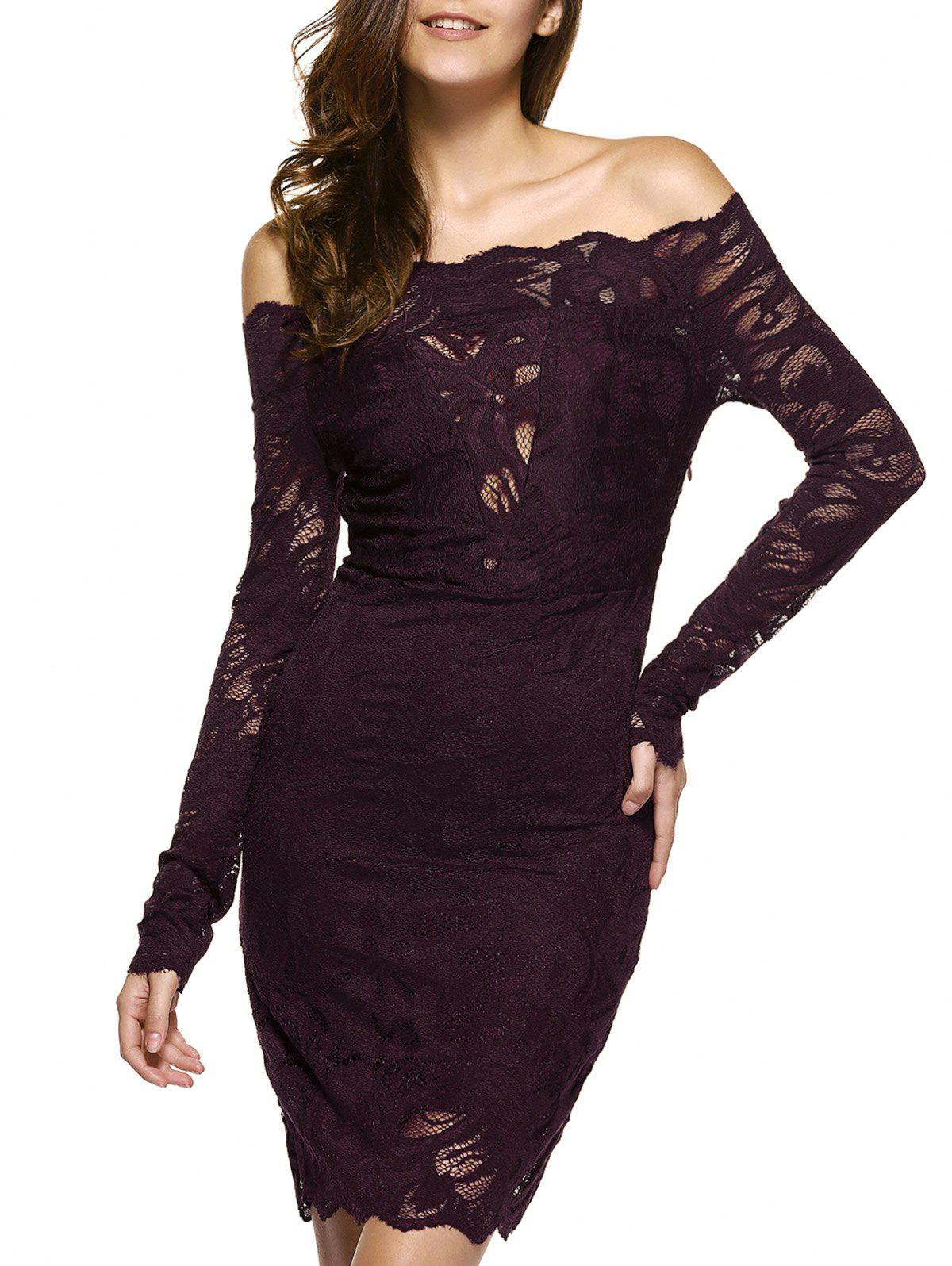 e40684fd228 2019 OFF The Shoulder Lace Bodycon Mini Dress