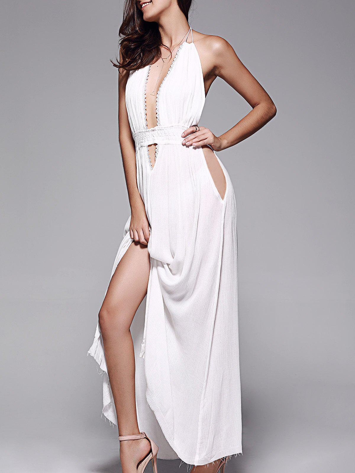 Shops Plunge Halter Long Backless Swing Prom Dress