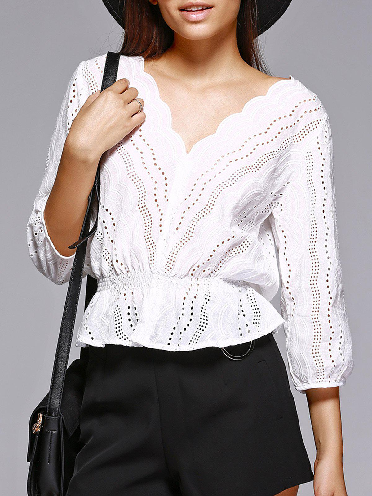Buy Trendy V Neck Hollow Out White Blouse