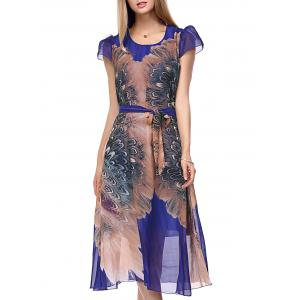 Puff Sleeve Tie Belt Tea Length Flowy Dress