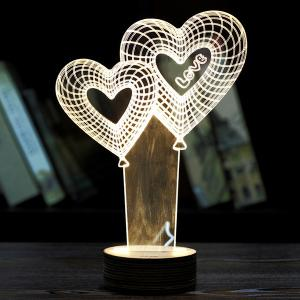 Creative Home Decoration Heart Balloon Design LED Night Light - Light Yellow - 2xl