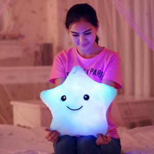 Creative Lucky Star Shape Gift Luminous Smiling Face Musical Pillow - Light Blue - W71 Inch * L79 Inch