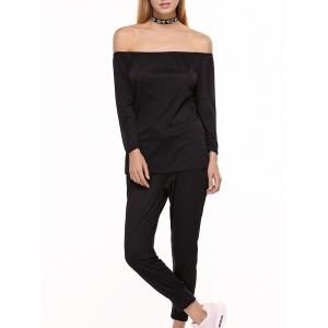 Off Shoulder Top with Drawstring Running Jogger Pants
