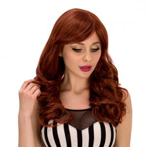 Refreshing Long Dark Auburn Fluffy Wave Side Bang Synthetic Wig For Women