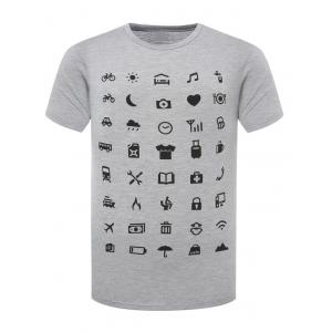 Funny Icon Pattern Printing Round Neck Short Sleeves T-Shirt For Men