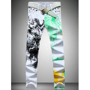 White Color Printed Straight Leg Jeans For Men - White - 28