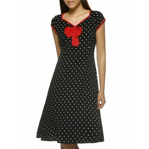 Chic Women's Polka Dot Cap Sleeve V-Neck Dress