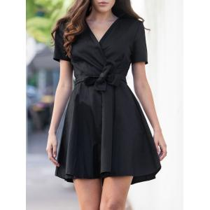 Vintage V-Neck Short Sleeve Pure Color Ball Dress For Women