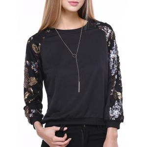 Stylish Sequined Long Sleeve Round Neck Sweatshirt For Women