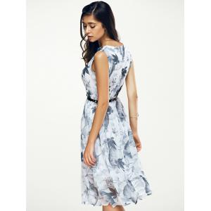 Jewel Neck Sleeveless Floral Print A Line Belted Dress -