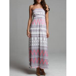 Maxi Geometric Print Strapless Bohemian Beach Dress