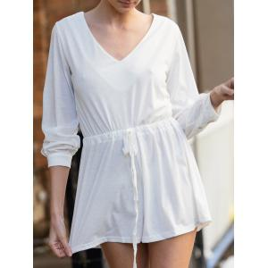 Stylish Plunging Neck Long Sleeve Drawstring Design Women's White Romper - White - S