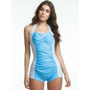 Halter Polka Dot Boyleg One Piece Swimsuit - LAKE BLUE XL