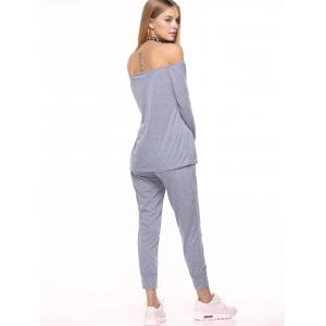 Off Shoulder Top with Drawstring Running Jogger Pants -