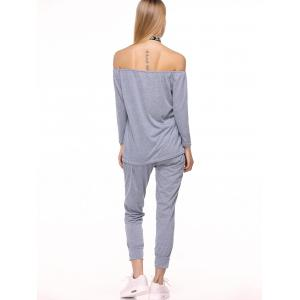 Sporty Off The Shoulder Top et pantalon Drawstring Twinset - Gris L